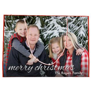 Felices Navidad de la foto de familia de encargo Bolsa De Regalo Grande