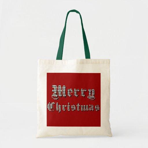 Felices Navidad de la impresión de Houndstooth Bolsas