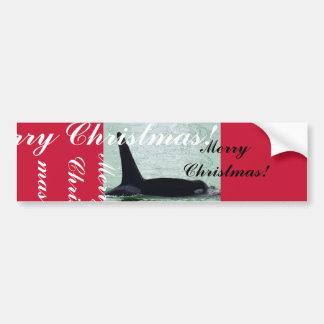 Felices Navidad de la isla de San Juan de la orca  Etiqueta De Parachoque