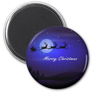 Felices Navidad de la luna del trineo de Santa Imán Redondo 5 Cm