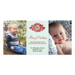 Felices Navidad de la menta roja de la guirnalda d Tarjeta Personal Con Foto