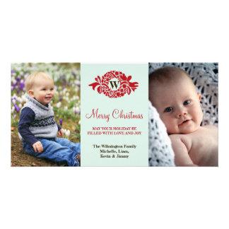 Felices Navidad de la menta roja de la guirnalda d Tarjetas Personales