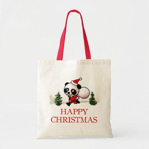 Felices Navidad de la panda linda Bolsas