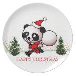 Felices Navidad de la panda linda Plato De Cena