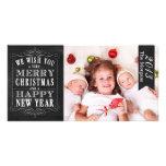 Felices Navidad de la pizarra, tarjeta de la Feliz Tarjeta Fotografica