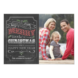 """Felices Navidad de la pizarra - tarjeta de la foto Invitación 5"""" X 7"""""""