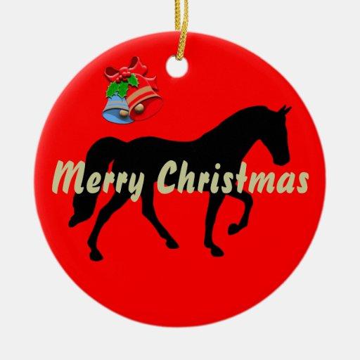 Felices Navidad de la silueta del caballo de Tenne Ornamentos De Navidad