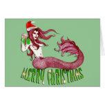 Felices Navidad de la sirena Tarjeta De Felicitación
