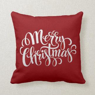 Felices Navidad de la tipografía Y Año Nuevo Cojín