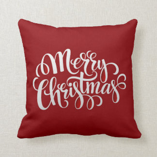 Felices Navidad de la tipografía Y Año Nuevo Cojín Decorativo