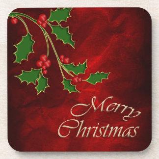 Felices Navidad de las bayas del acebo Posavasos