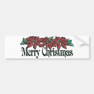 Felices Navidad de las flores tradicionales Pegatina De Parachoque