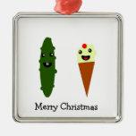 Felices Navidad de las salmueras y del helado Adorno Cuadrado Plateado