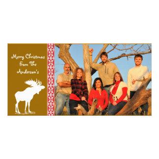 Felices Navidad de los alces y del copo de nieve Tarjeta Con Foto Personalizada