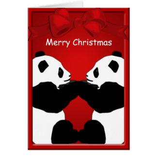 Felices Navidad de los amigos del oso de panda que Tarjeta De Felicitación