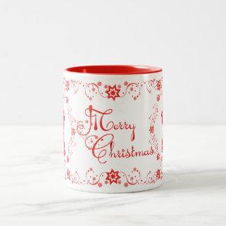 Felices Navidad de los ángeles rojos del cordón Taza De Dos Tonos