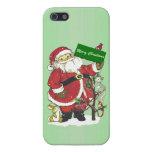 Felices Navidad de los animales lindos de Papá Noe iPhone 5 Carcasa