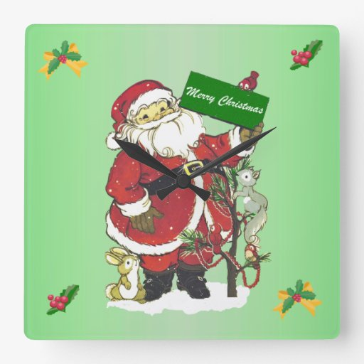 Felices Navidad de los animales lindos de Papá Noe Relojes De Pared