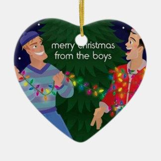 Felices Navidad de los muchachos Adorno De Cerámica En Forma De Corazón