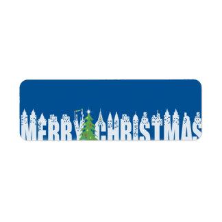Felices Navidad de los pegatinas en la ciudad Etiqueta De Remite