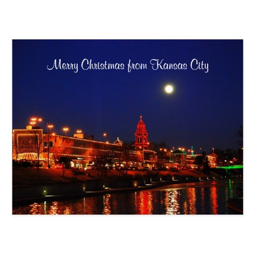Felices Navidad de luces de la plaza de Kansas Tarjeta Postal