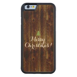 Felices Navidad de madera del vintage del país Funda De iPhone 6 Bumper Arce