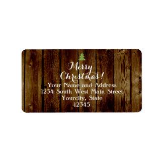 Felices Navidad de madera del vintage del país Etiquetas De Dirección