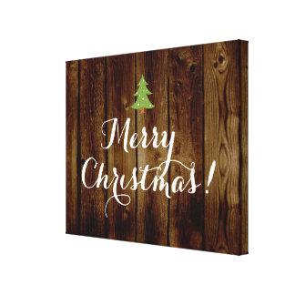Felices Navidad de madera del vintage del país Lona Estirada Galerías