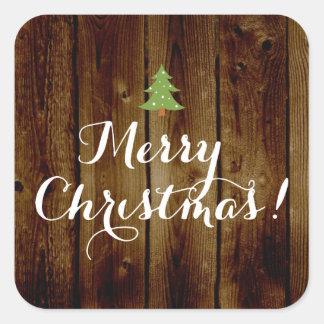 Felices Navidad de madera del vintage del país Pegatina Cuadrada