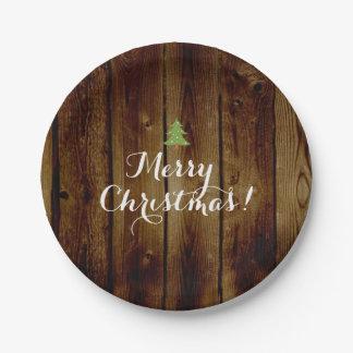 Felices Navidad de madera del vintage del país Plato De Papel De 7 Pulgadas
