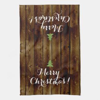 Felices Navidad de madera del vintage del país Toalla De Mano