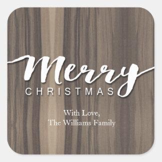 Felices Navidad de madera rústicas Pegatina Cuadrada