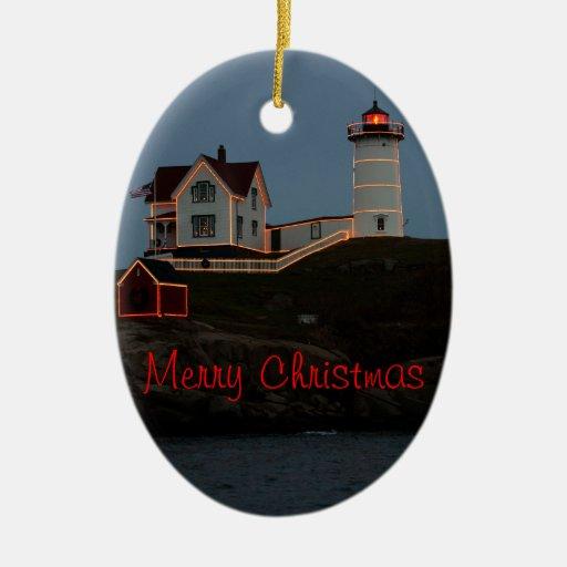 Felices Navidad de Maine Adorno Navideño Ovalado De Cerámica