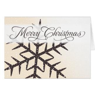 Felices Navidad de marfil de la crema de la nieve  Tarjeta Pequeña