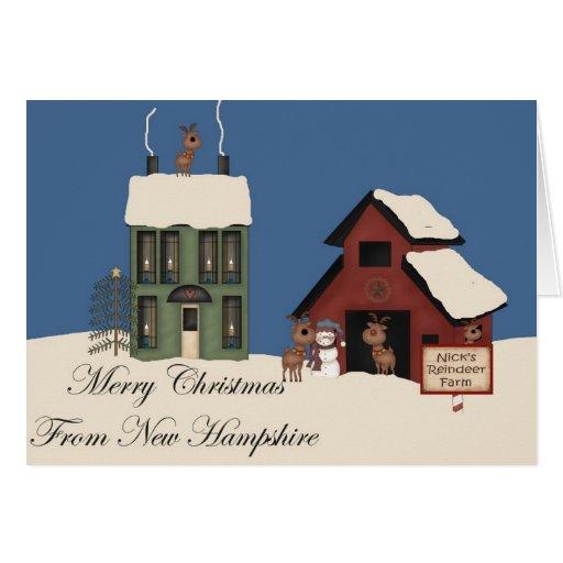 Felices Navidad de New Hampshire Tarjetón