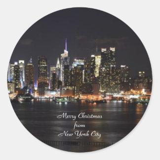 Felices Navidad de New York City Etiquetas Redondas