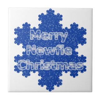 Felices Navidad de Newfie Azulejo Cuadrado Pequeño