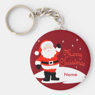 Felices Navidad de Papá Noel Llavero Redondo Tipo Pin