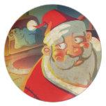 Felices Navidad de Papá Noel Plato De Comida