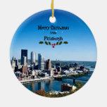 Felices Navidad de Pittsburgh Adorno Navideño Redondo De Cerámica