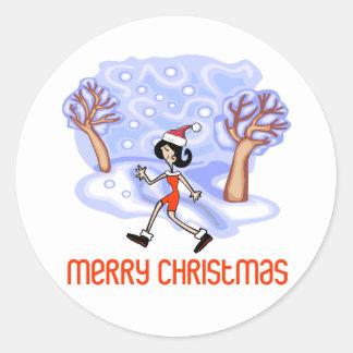 Felices Navidad de RunnerChick Pegatina Redonda