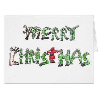 Felices Navidad de Santa y de sus ayudantes Tarjeta De Felicitación Grande