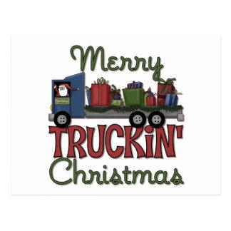 Felices Navidad de Truckin Tarjeta Postal
