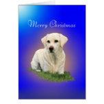 Felices Navidad de un Labrador blanco Tarjetas