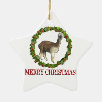 Felices Navidad de una alpaca Adorno Navideño De Cerámica En Forma De Estrella