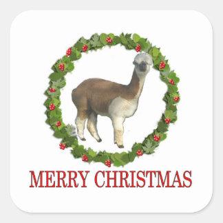 Felices Navidad de una alpaca Pegatina Cuadrada