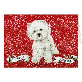 Felices Navidad de Westie Tarjetas