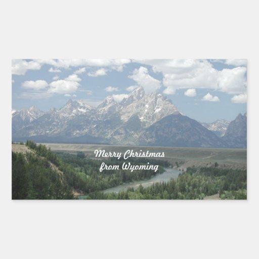 Felices Navidad de Wyoming Pegatina Rectangular