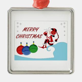 Felices Navidad Adorno Cuadrado Plateado