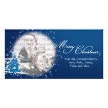 Felices Navidad del árbol de navidad azul Tarjetas Con Fotos Personalizadas